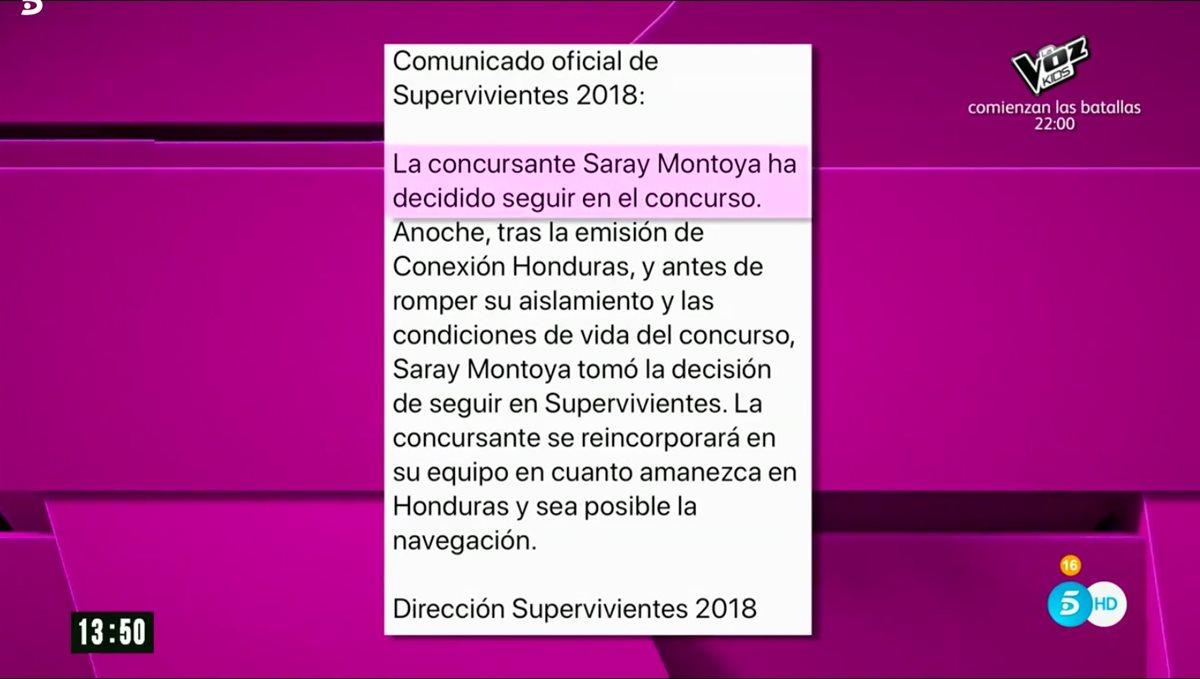 Saray Montoya rectifica y decide continuar en \'Supervivientes\'
