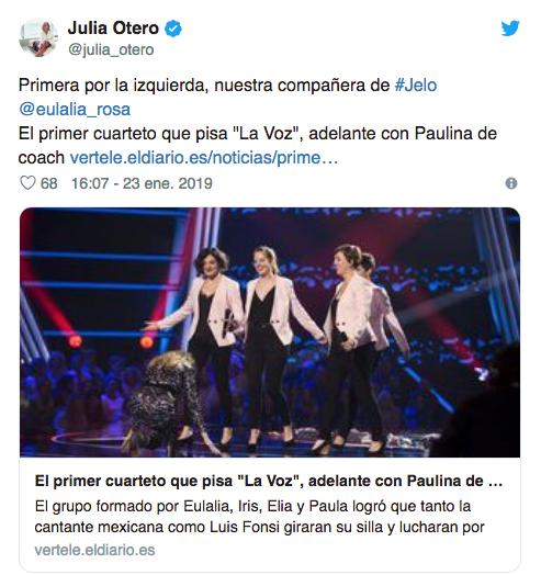 ed0b39491 La relación que tienen Julia Otero y una concursante de  La Voz