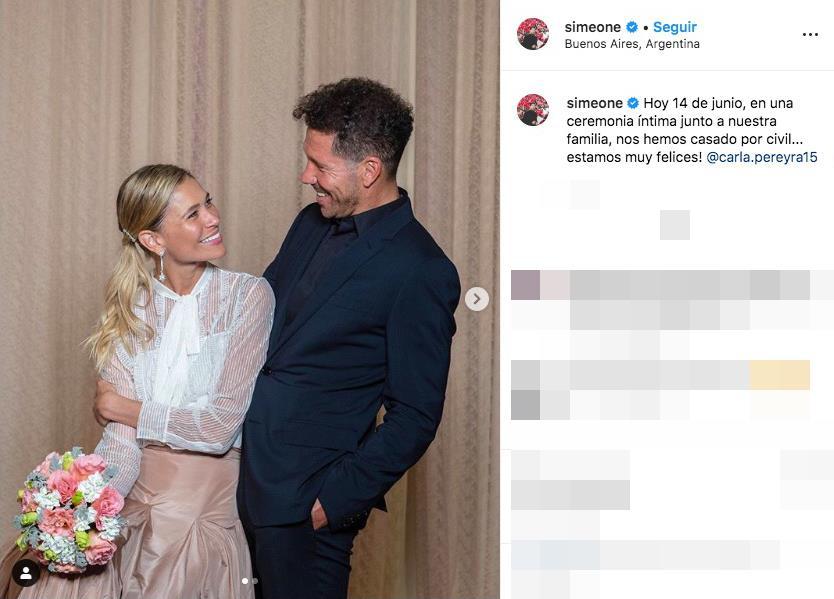 Simeone y Carla Pereyra celebran en secreto su boda