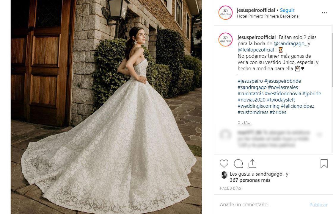 boda feliciano lopez sandra gago vestido novia