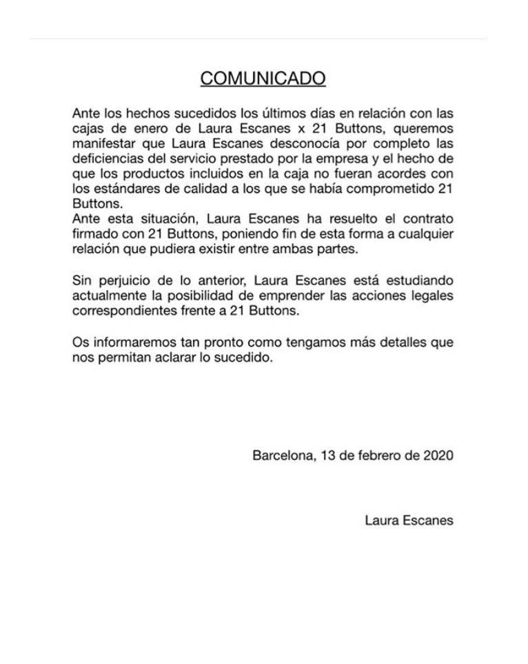 Comunicado Laura Escanes