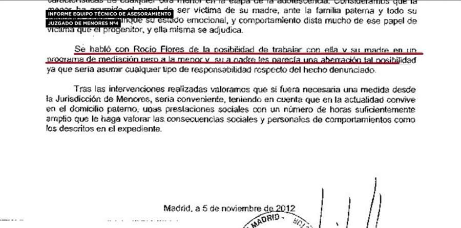 Informe del Juzgado de Menores presentado por Rocío Carrasco