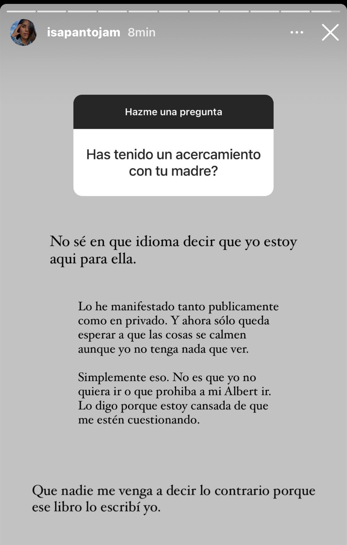 Isa Pantoja mensaje en redes sociales